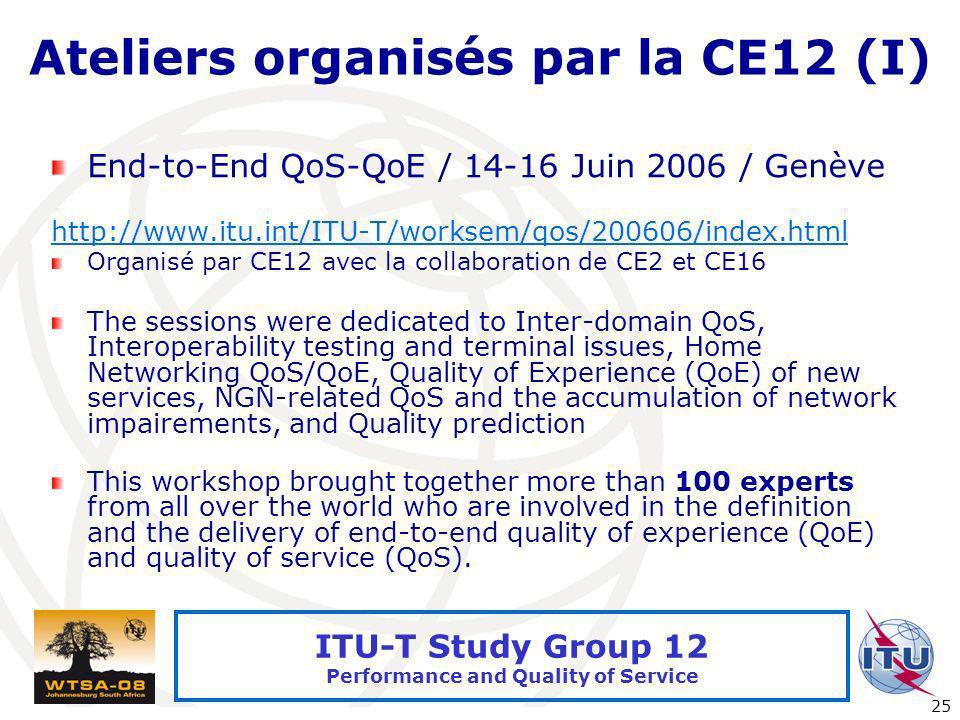 Ateliers organisés par la CE12 (I)