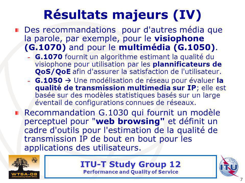 Résultats majeurs (IV)