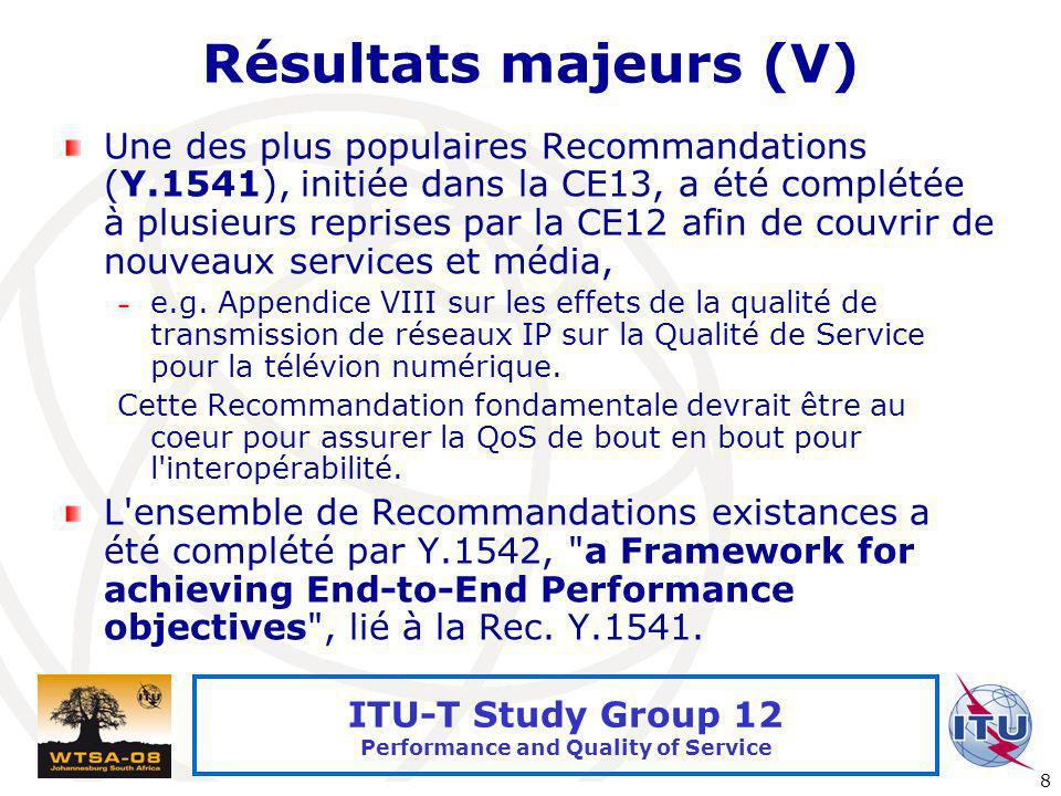 Résultats majeurs (V)
