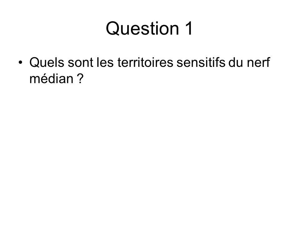 Question 1 Quels sont les territoires sensitifs du nerf médian