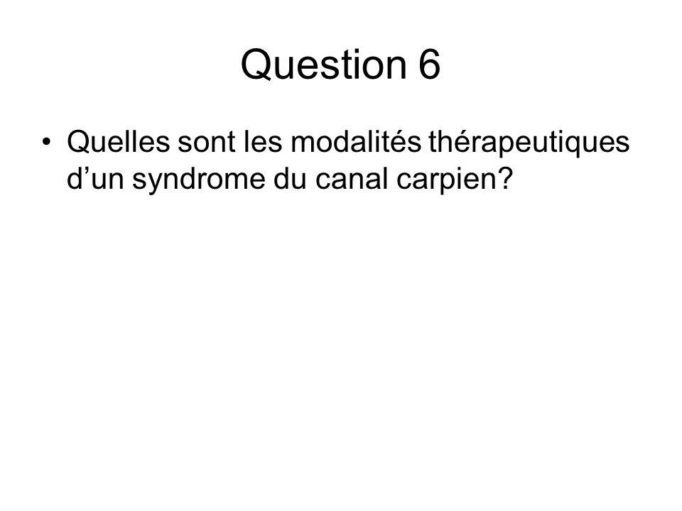 Question 6 Quelles sont les modalités thérapeutiques d'un syndrome du canal carpien