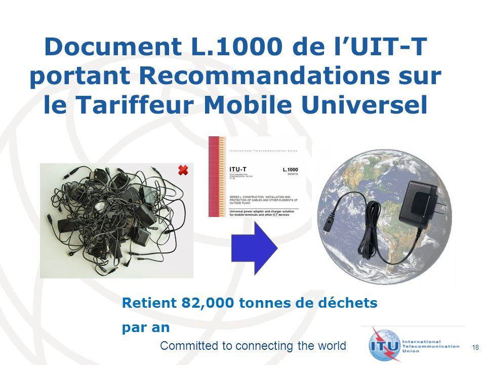 Document L.1000 de l'UIT-T portant Recommandations sur le Tariffeur Mobile Universel