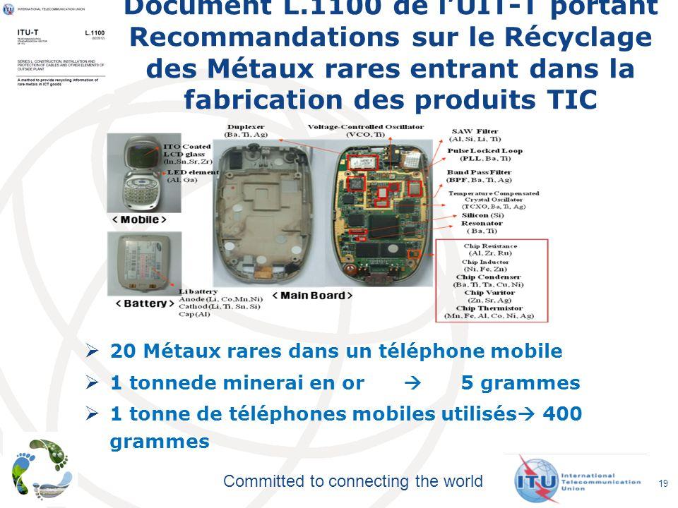 Document L.1100 de l'UIT-T portant Recommandations sur le Récyclage des Métaux rares entrant dans la fabrication des produits TIC