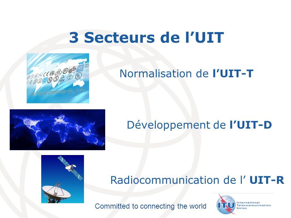 3 Secteurs de l'UIT Normalisation de l'UIT-T Développement de l'UIT-D