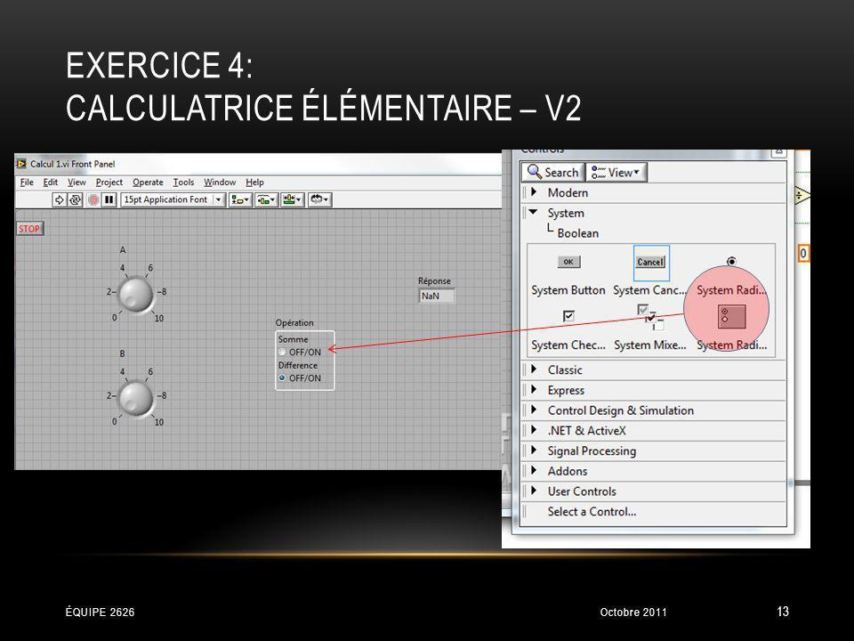 exercice 4: Calculatrice élémentaire – V2