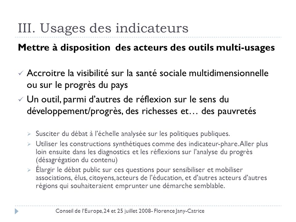 III. Usages des indicateurs
