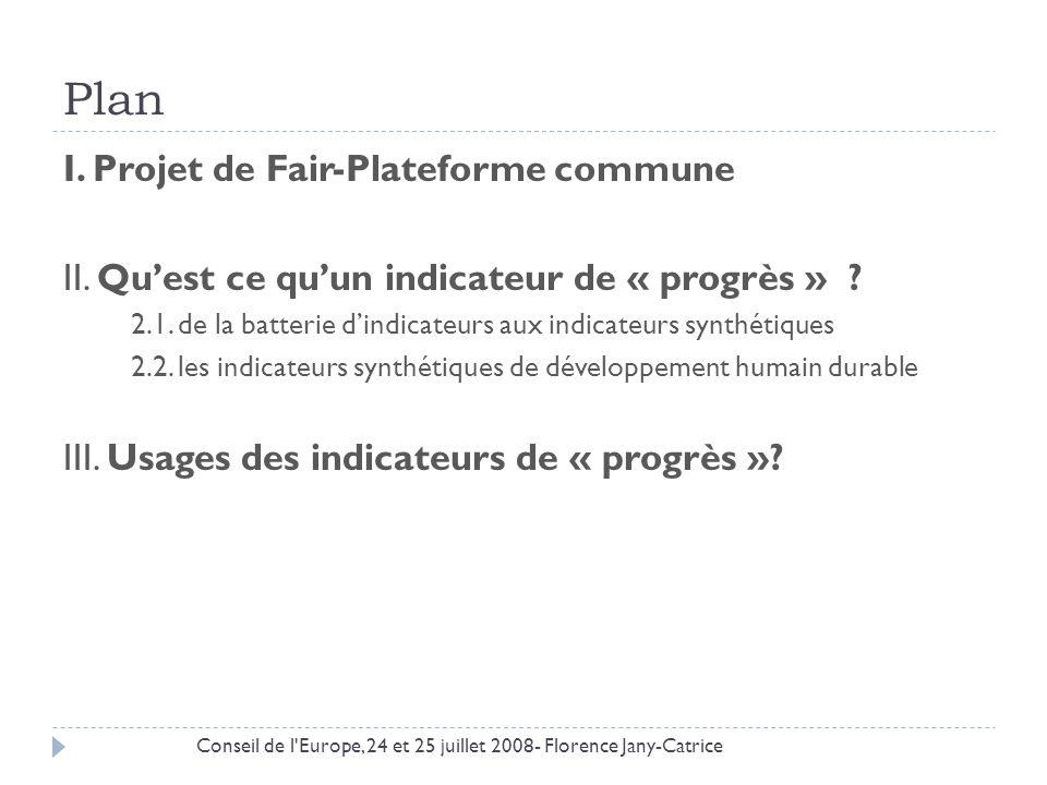 Plan I. Projet de Fair-Plateforme commune