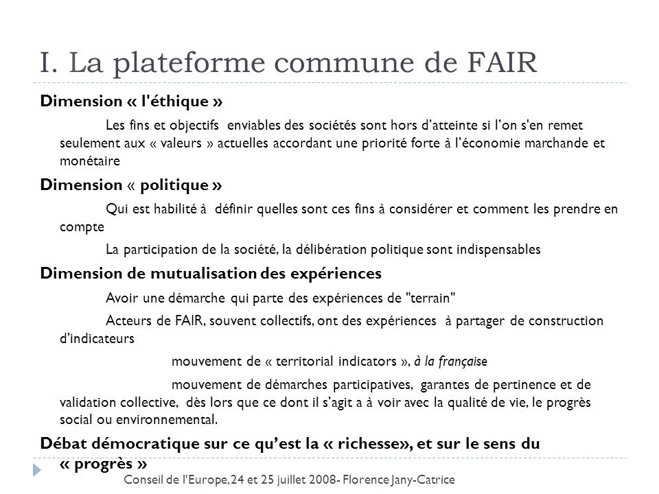 I. La plateforme commune de FAIR
