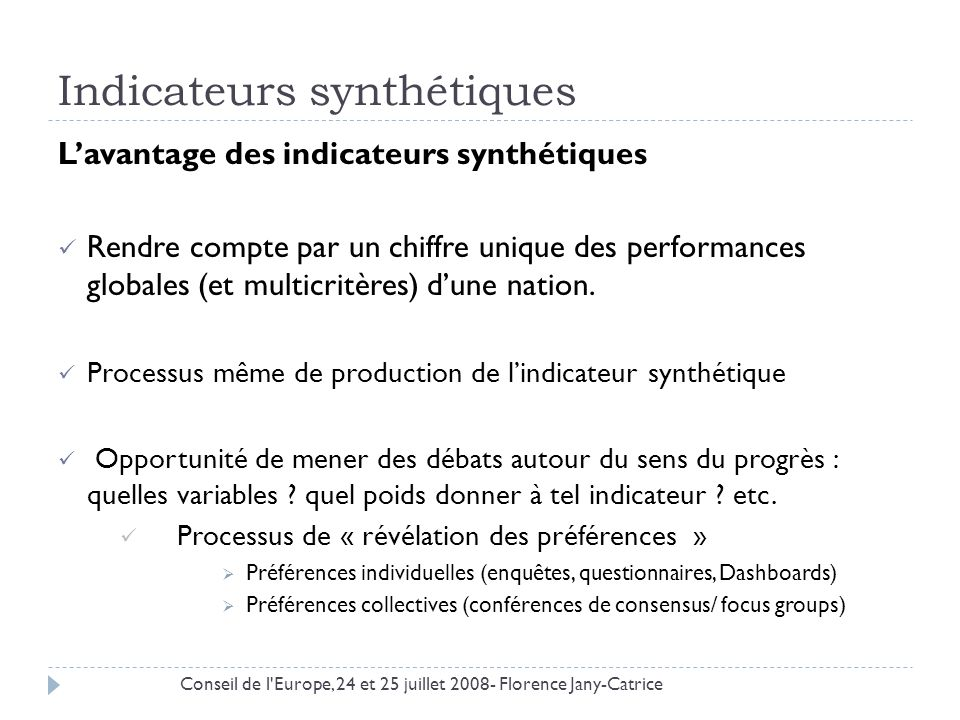 Indicateurs synthétiques