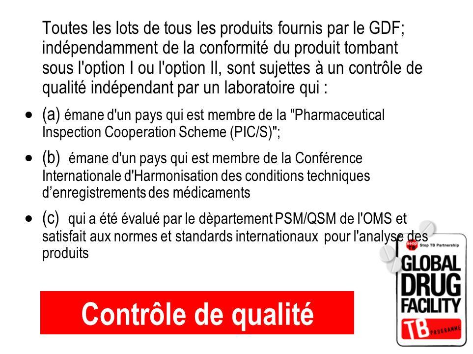 Toutes les lots de tous les produits fournis par le GDF; indépendamment de la conformité du produit tombant sous l option I ou l option II, sont sujettes à un contrôle de qualité indépendant par un laboratoire qui :