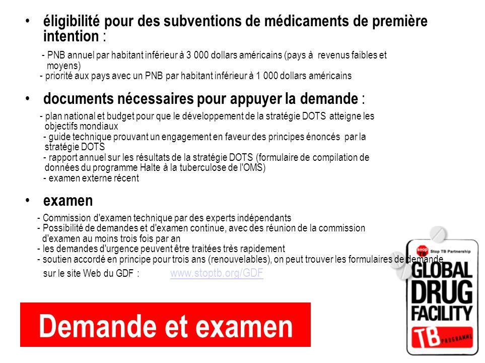éligibilité pour des subventions de médicaments de première intention :