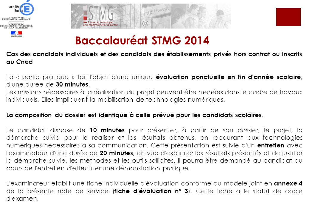 Baccalauréat STMG 2014 Cas des candidats individuels et des candidats des établissements privés hors contrat ou inscrits au Cned.