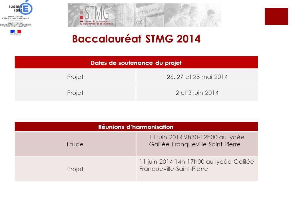 Baccalauréat STMG 2014 Dates de soutenance du projet Projet