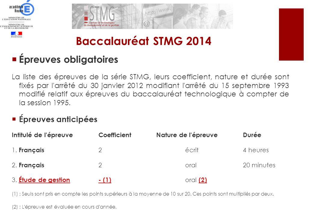 Baccalauréat STMG 2014 Épreuves obligatoires Épreuves anticipées