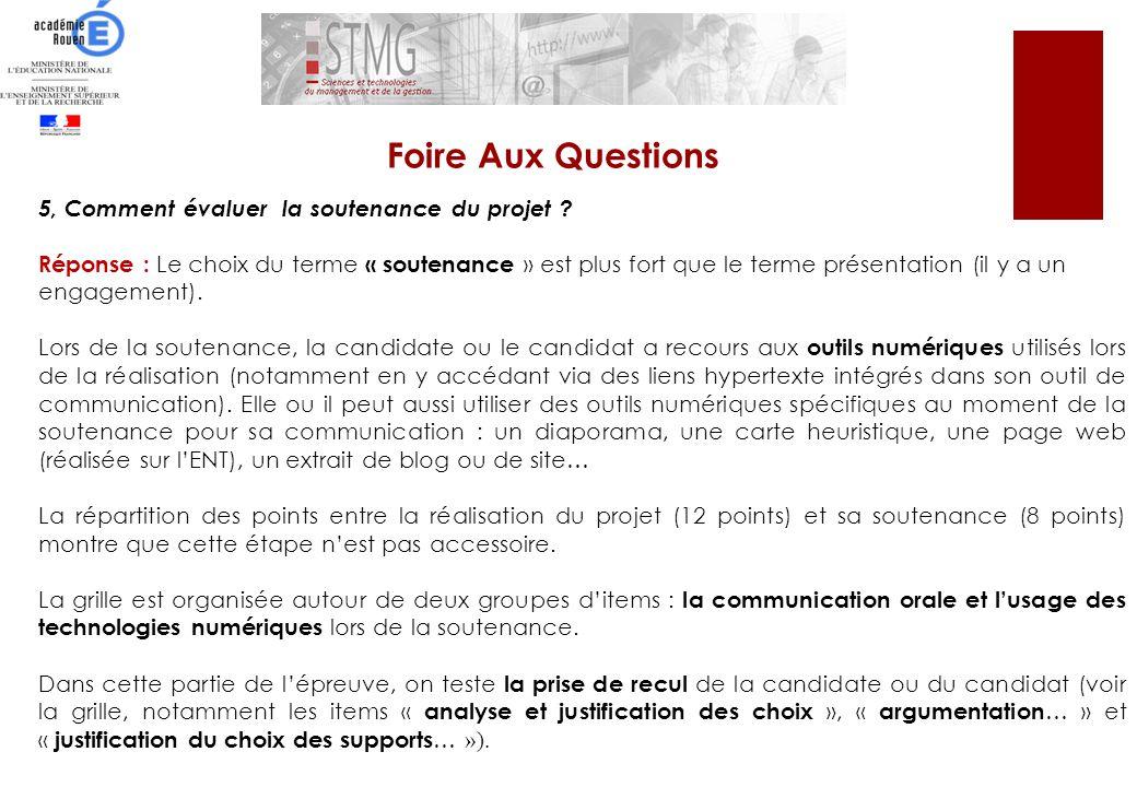 Foire Aux Questions 5, Comment évaluer la soutenance du projet