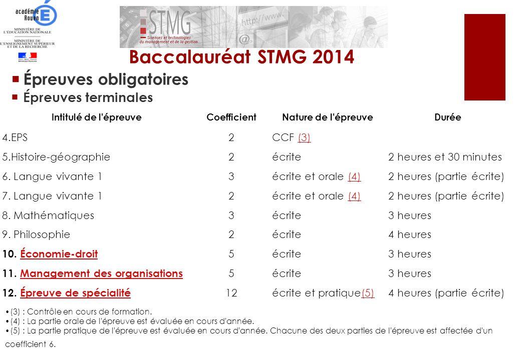 Baccalauréat STMG 2014 Épreuves obligatoires Épreuves terminales 4.EPS