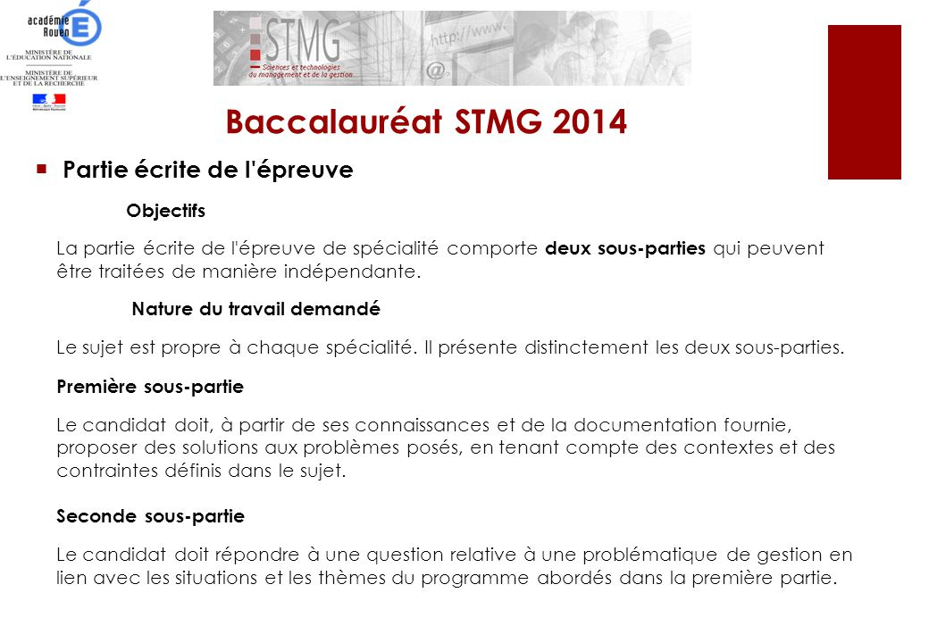 Baccalauréat STMG 2014