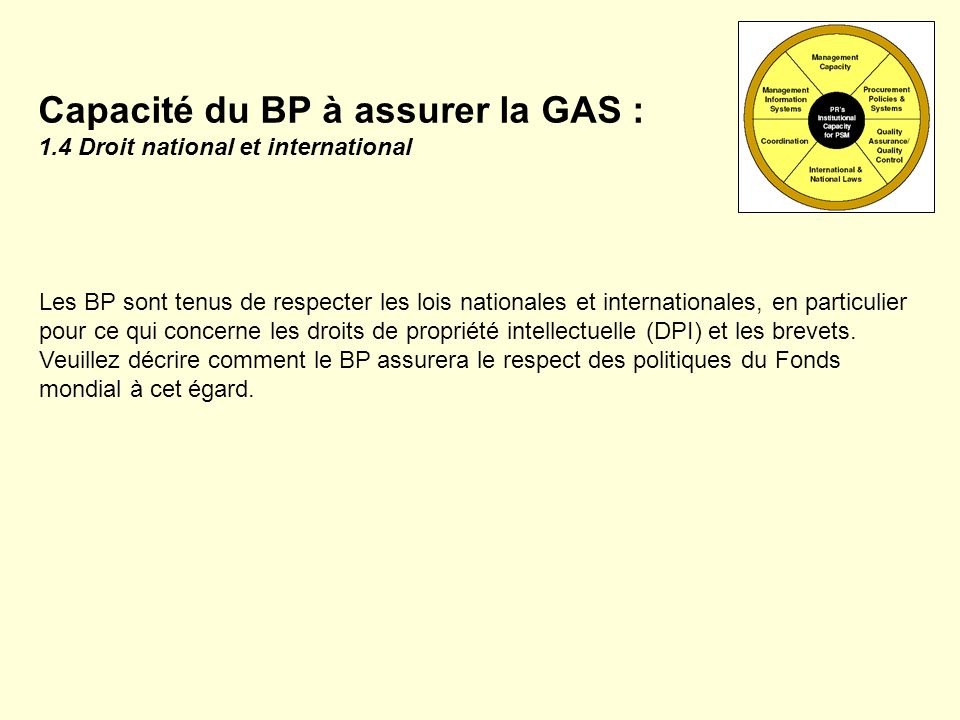 Capacité du BP à assurer la GAS : 1.4 Droit national et international