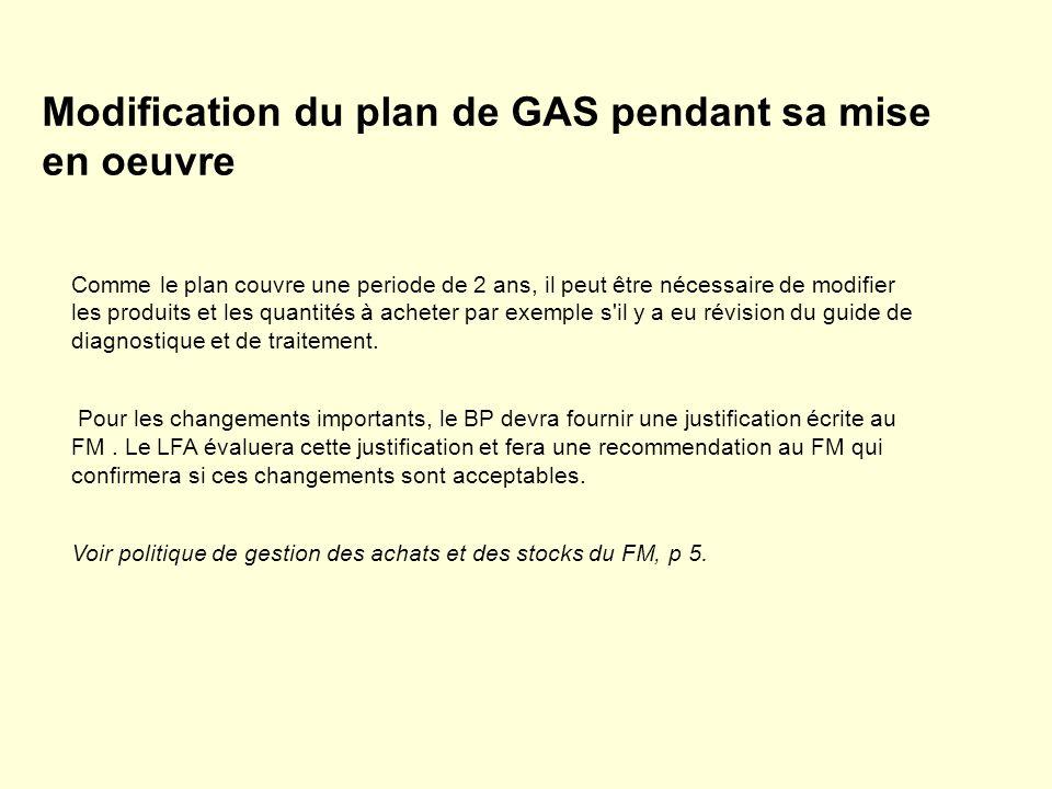 Modification du plan de GAS pendant sa mise en oeuvre