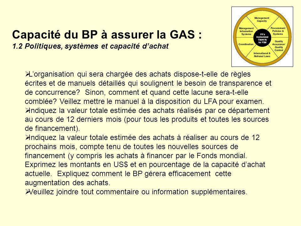 Capacité du BP à assurer la GAS : 1
