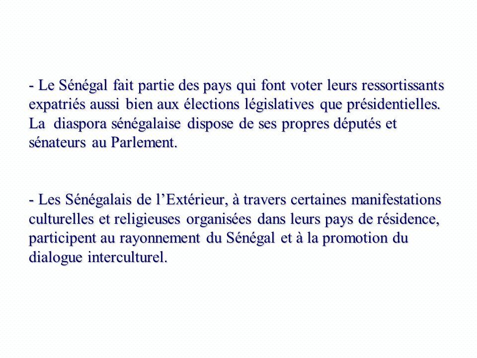 - Le Sénégal fait partie des pays qui font voter leurs ressortissants expatriés aussi bien aux élections législatives que présidentielles.