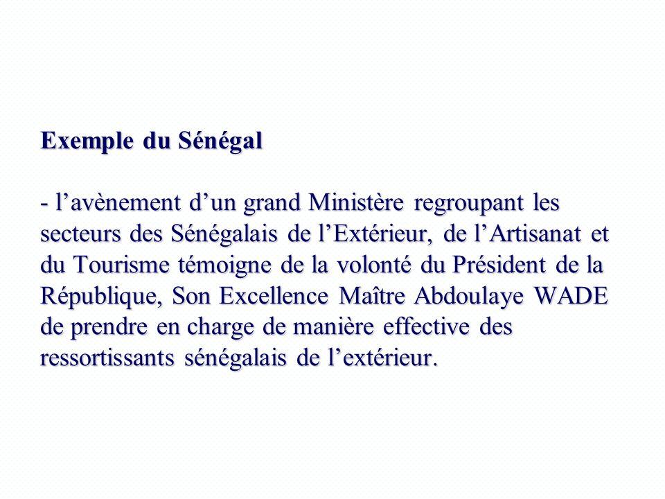 Exemple du Sénégal - l'avènement d'un grand Ministère regroupant les secteurs des Sénégalais de l'Extérieur, de l'Artisanat et du Tourisme témoigne de la volonté du Président de la République, Son Excellence Maître Abdoulaye WADE de prendre en charge de manière effective des ressortissants sénégalais de l'extérieur.