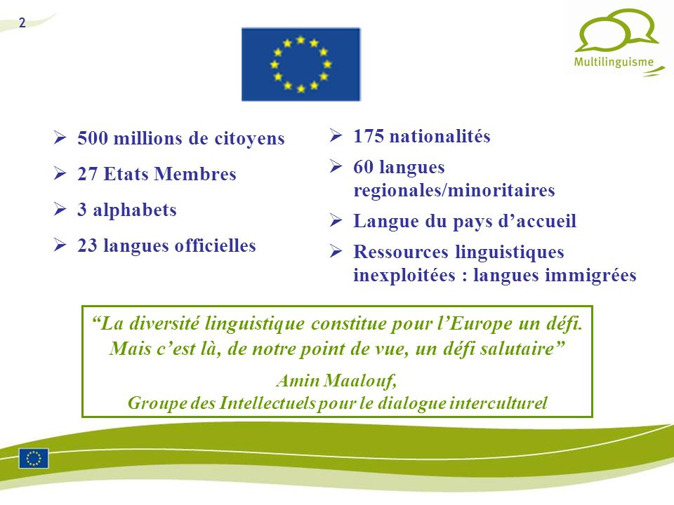 500 millions de citoyens27 Etats Membres. 3 alphabets. 23 langues officielles. 175 nationalités. 60 langues regionales/minoritaires.