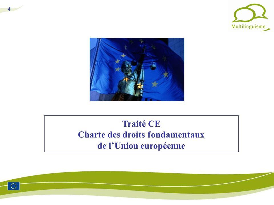 Traité CE Charte des droits fondamentaux de l'Union européenne