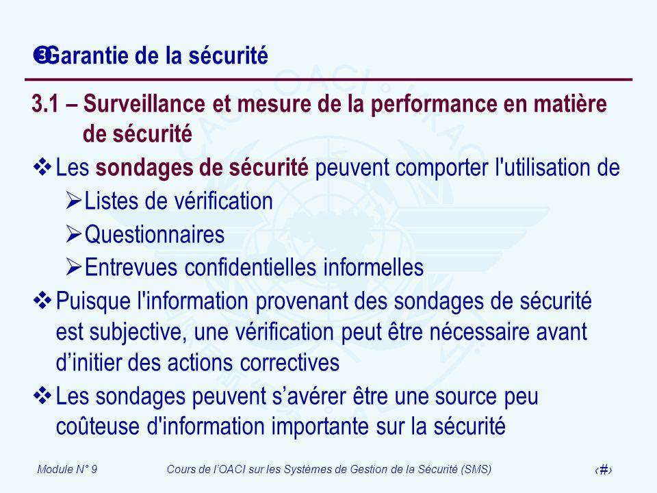 Garantie de la sécurité