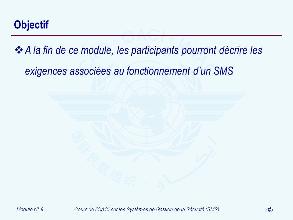 Objectif A la fin de ce module, les participants pourront décrire les exigences associées au fonctionnement d'un SMS.