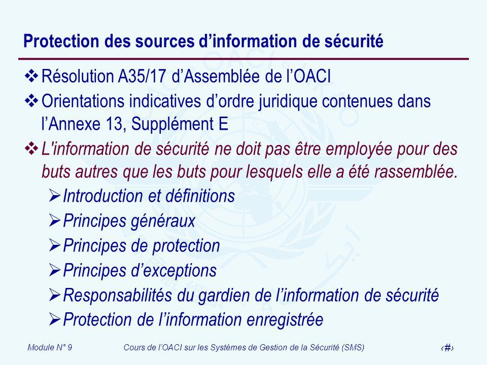 Protection des sources d'information de sécurité