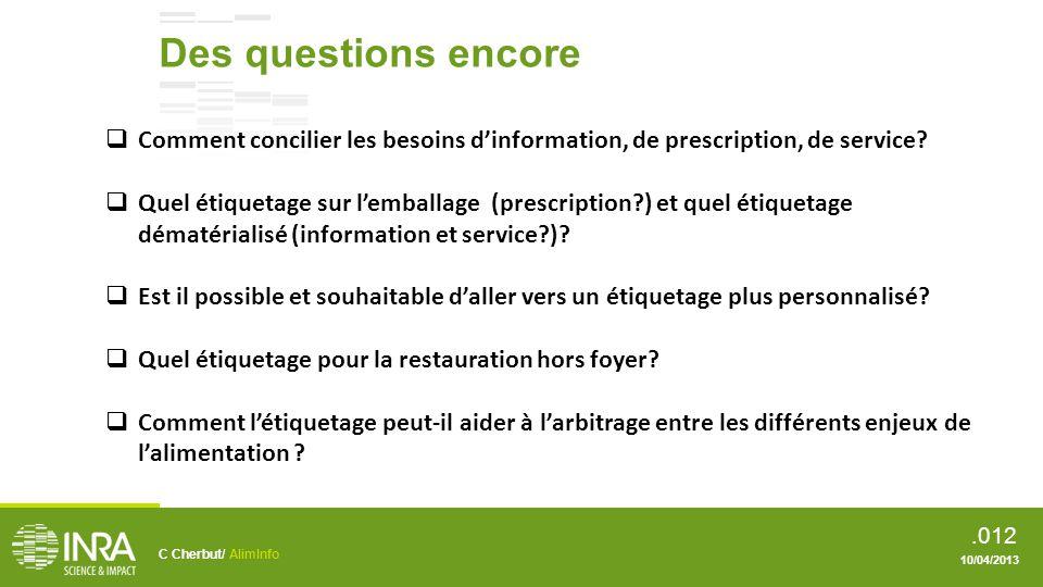 Des questions encore Comment concilier les besoins d'information, de prescription, de service