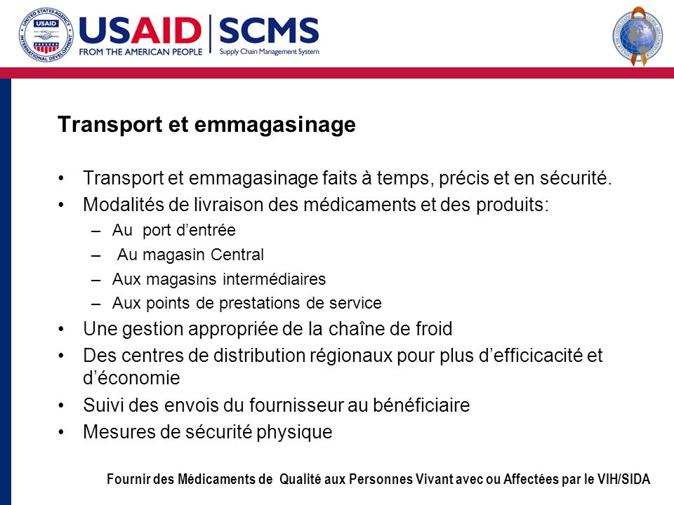 Transport et emmagasinage