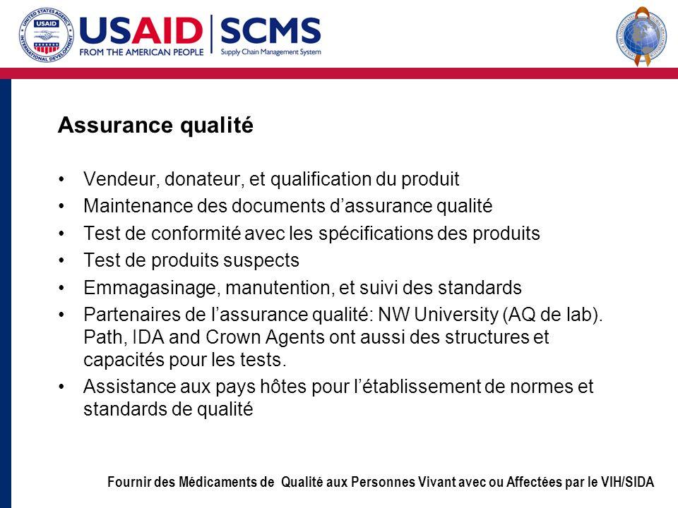 Assurance qualité Vendeur, donateur, et qualification du produit