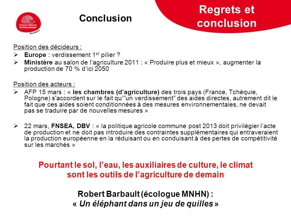 Regrets et conclusion Conclusion