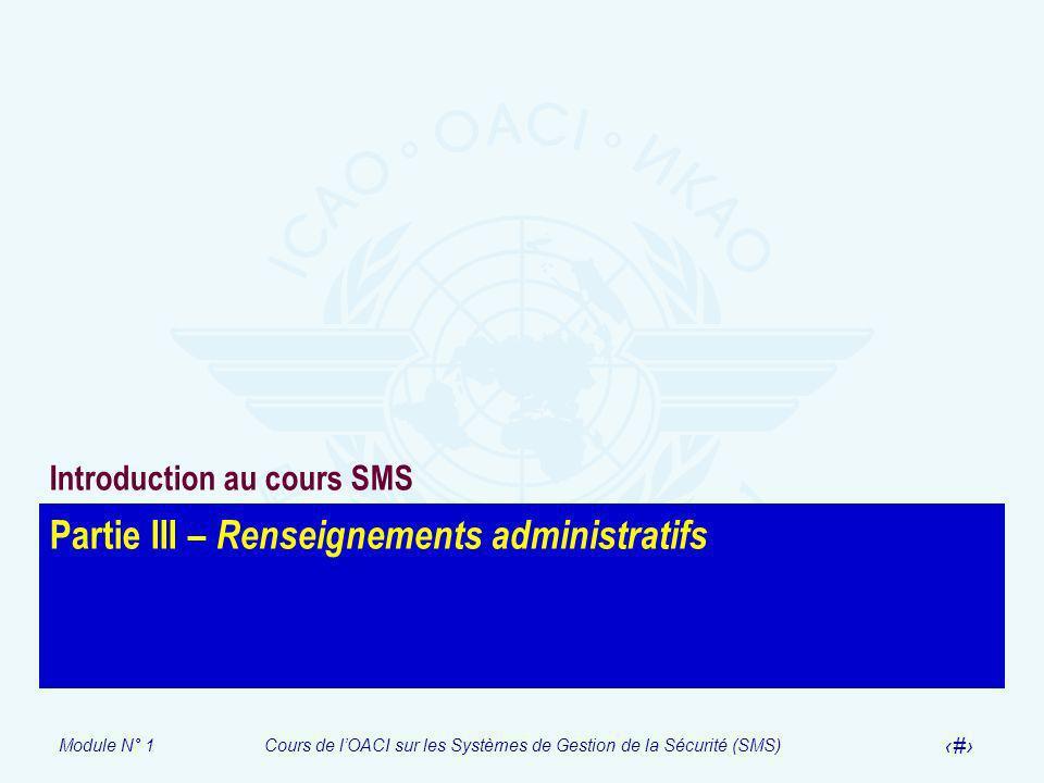 Partie III – Renseignements administratifs