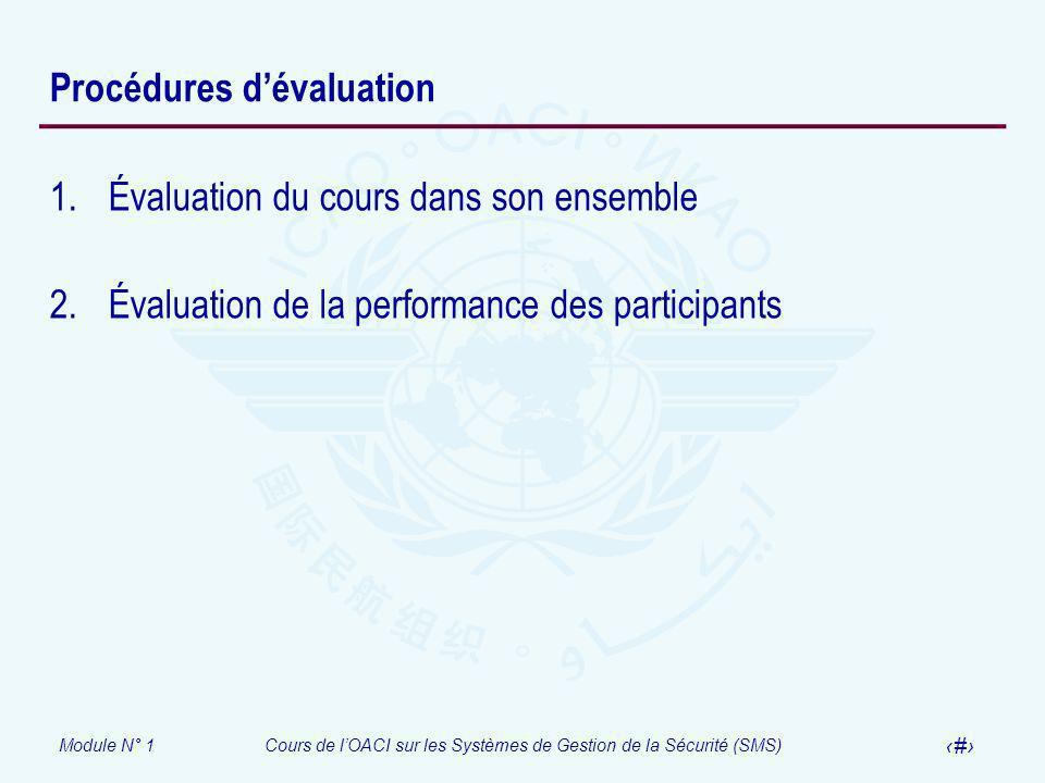 Procédures d'évaluation