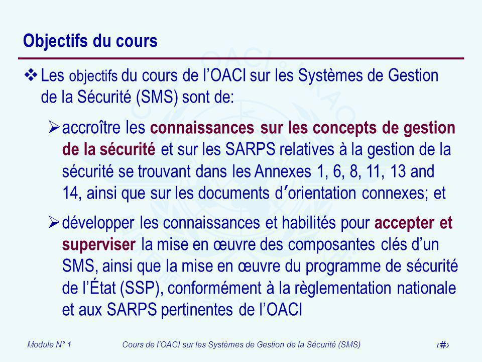 Objectifs du cours Les objectifs du cours de l'OACI sur les Systèmes de Gestion de la Sécurité (SMS) sont de:
