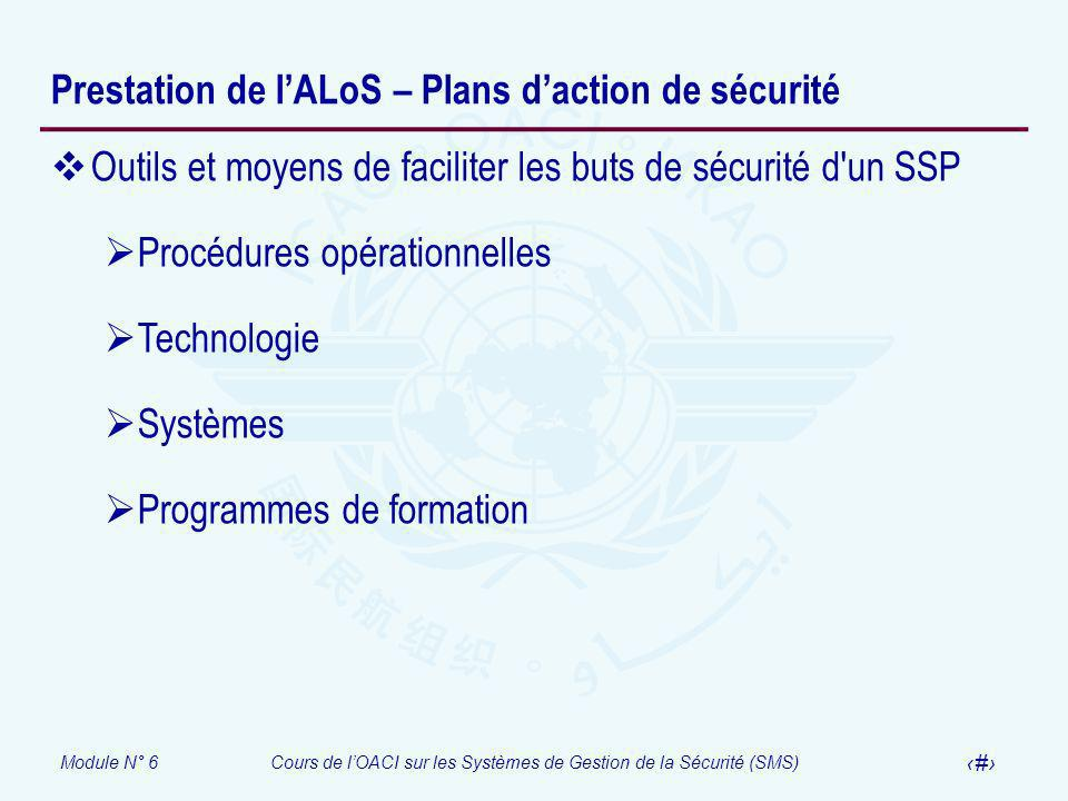 Prestation de l'ALoS – Plans d'action de sécurité