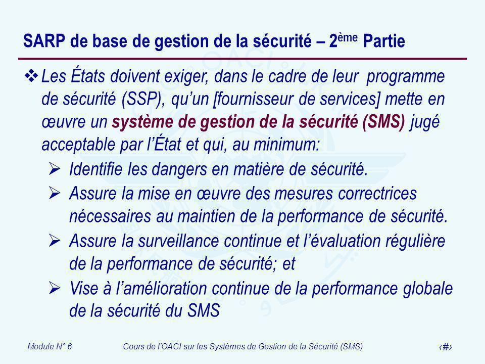 SARP de base de gestion de la sécurité – 2ème Partie