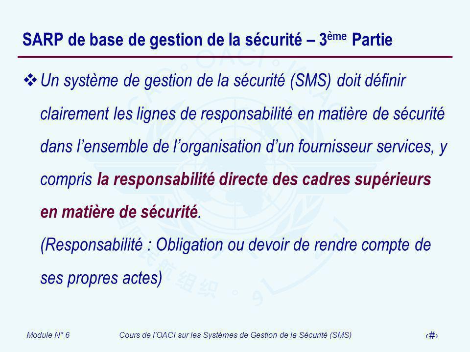 SARP de base de gestion de la sécurité – 3ème Partie