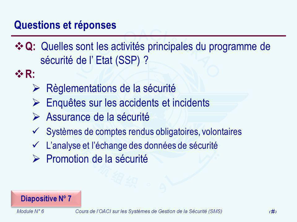 Règlementations de la sécurité Enquêtes sur les accidents et incidents