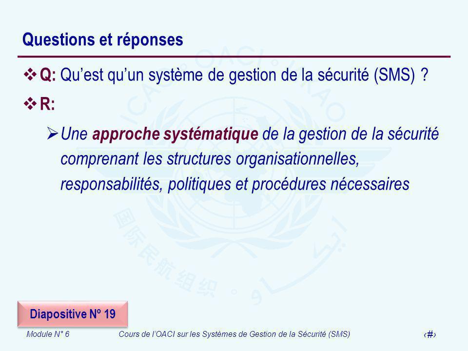 Q: Qu'est qu'un système de gestion de la sécurité (SMS) R: