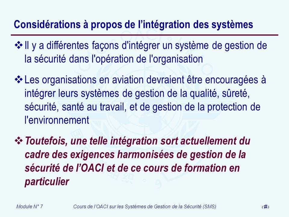 Considérations à propos de l'intégration des systèmes