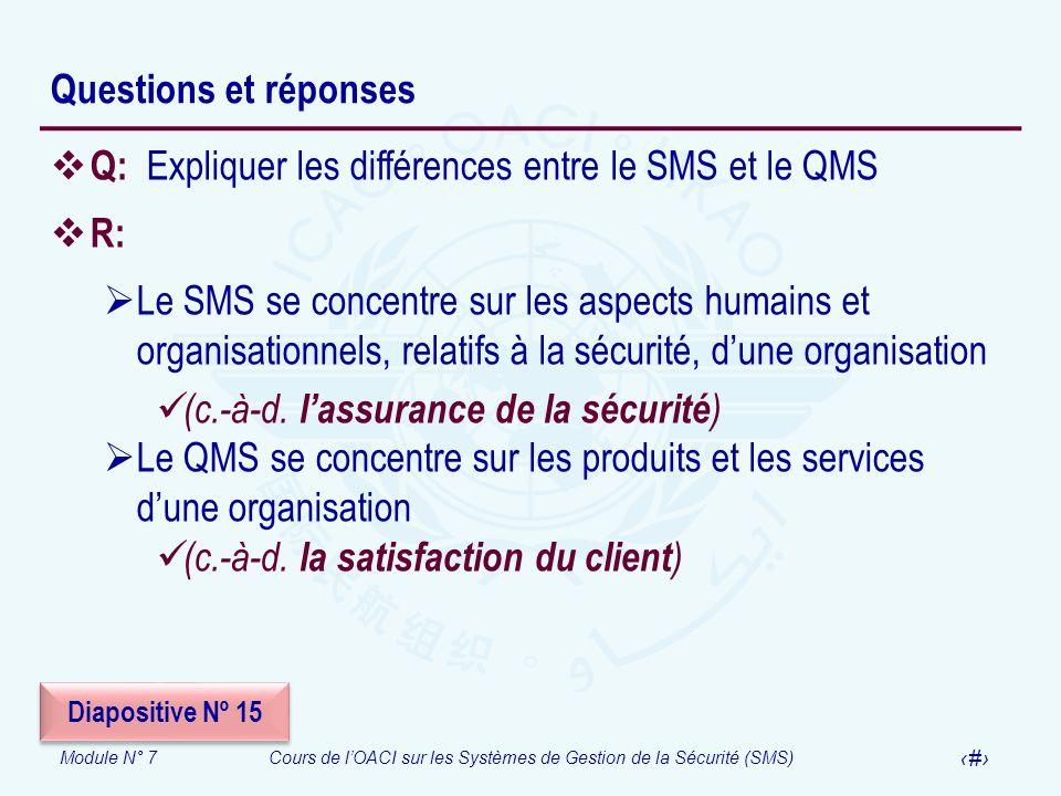 Q: Expliquer les différences entre le SMS et le QMS R: