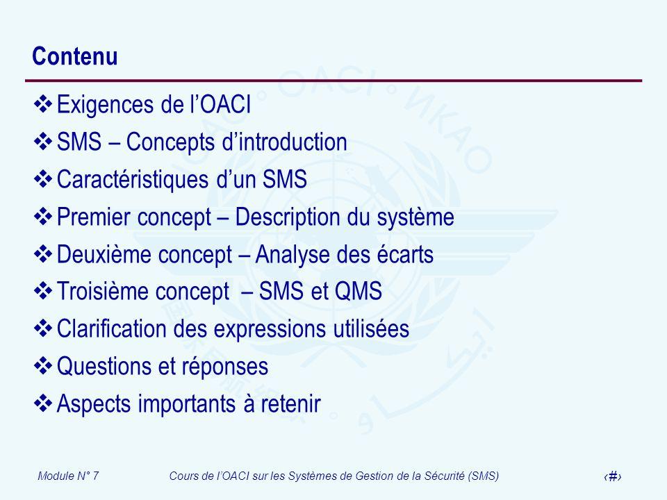 ContenuExigences de l'OACI. SMS – Concepts d'introduction. Caractéristiques d'un SMS. Premier concept – Description du système.
