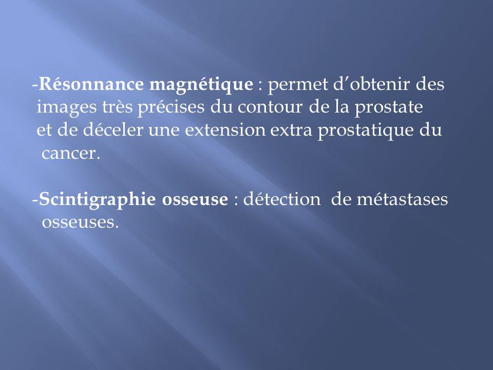 Résonnance magnétique : permet d'obtenir des