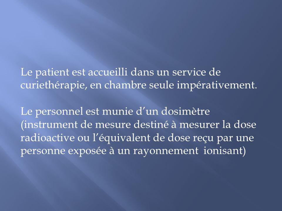 Le patient est accueilli dans un service de