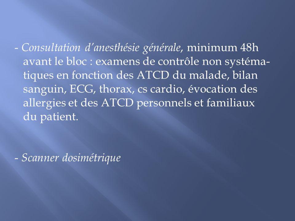 Consultation d'anesthésie générale, minimum 48h