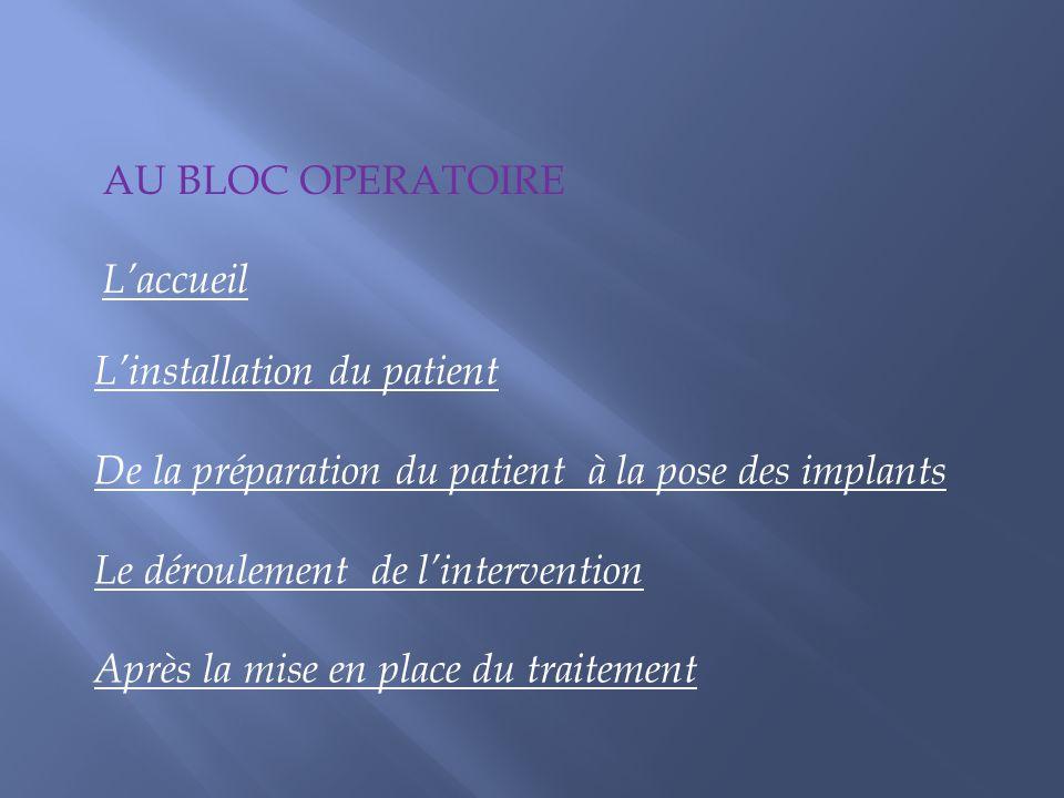 AU BLOC OPERATOIRE L'accueil. L'installation du patient. De la préparation du patient à la pose des implants.